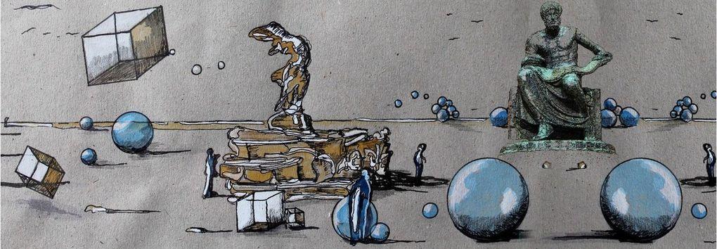 """Vignettes composant le découpages des tableaux """"ARISTORIES"""" en aquarelles, gouaches et encre de Chine"""