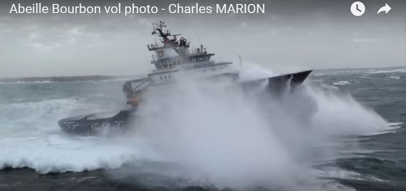 VIDEO - extraordinary film of the Abeille Bourbon tugand offshore support vessel in the storm
