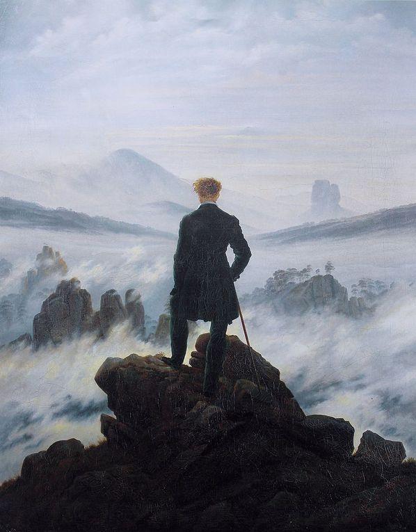 Paysage avec église, Dolmen sous la neige, Moine dans la neige, Croix surplombant la mer Baltique,Le voyageur contemplant une mer de nuages, La mer de glace, Les âges de la vie, Falaises de craie, aquarelle (Rügen, 1824-6))