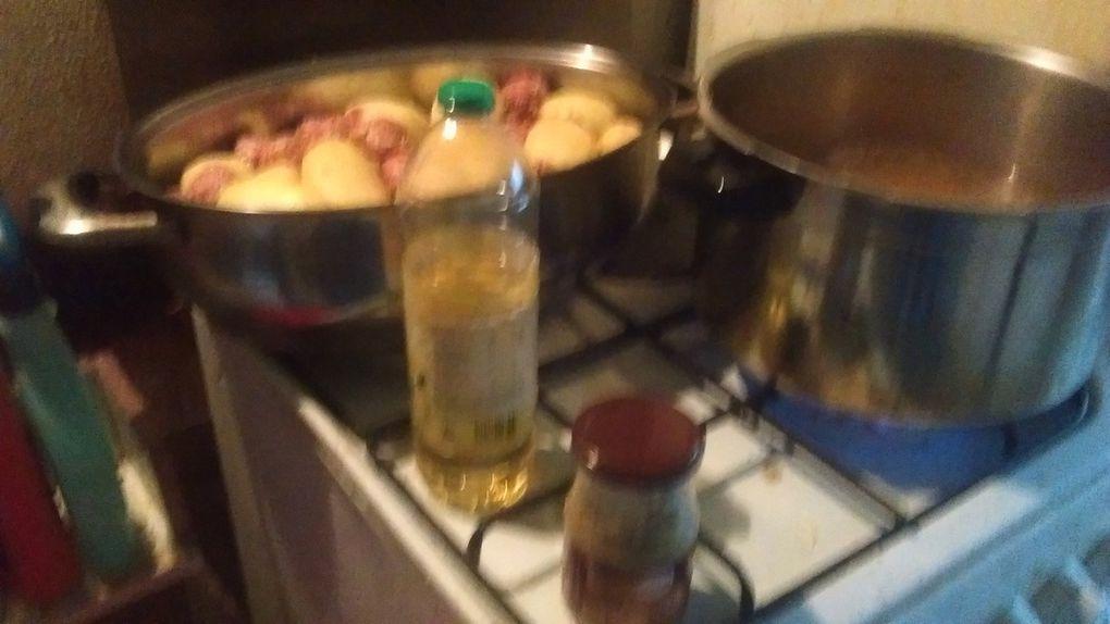 Prendre du gruyère, des oeufs, des herbes de provences, de l'oignons et mélangez. Evidez des chipolatas, des merguez et de la viande hachée et les mélangez. Epuchez des pommes de terre (Ecartez les pluches pour le compost), et creusez les. Farcir les pommes de terre avec le mélange de viandes et la préparation à base de gruyère. Faire cuire les pommes de terre farcies pendant 45 minutes. Faire cuire les coeurs des pommes de terre en purée avec un oignon. Fiare cuire une partie de la viande que vous mélangerez avec la purée et du lait afin de faire un hachis. Cuire 30 minutes à 200 °C au four. Servez puis déguistez.