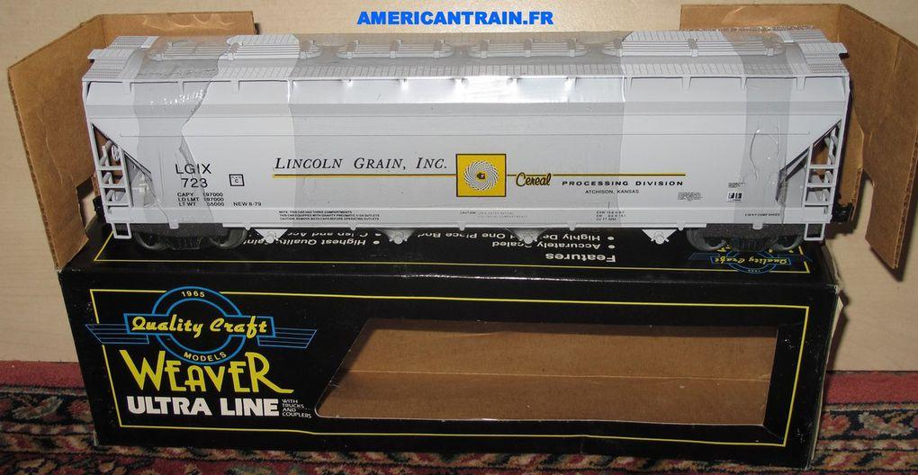 Wagon Centerflow Hopper Lincoln Grain 723 3 rails échelle O Weaver