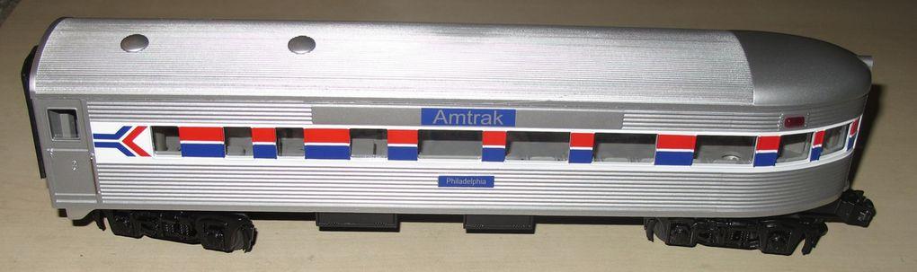Voiture de voyageurs Steamlined Observation Car Amtrak 3 rails échelle O MTH 02