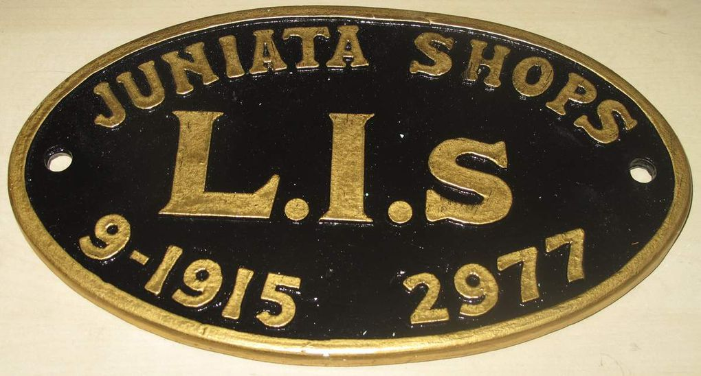 Reproduction plaque de constructeur de locomotive US Juniata Shops