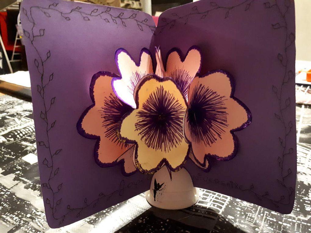 Carte  Strass et ses fleurs 3D