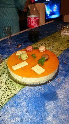 bavarois mousse chocolat blanc et coulis de mangue,mon dessert pour noel 2015