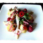 Salade de hareng pomme de terre, vinaigrette coriandre framboise