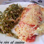Escalopes de dinde gratinées ail et fines herbes, tomates