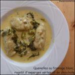 Quenelles au fromage blanc, ragoût d'asperges et de chou kale