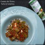 Cosses de fèves cuisinées à la feta & à la tomate