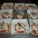 Verrines de tiramisu à la tomate et au crabe