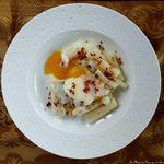 Salsifis à la truffe et oeuf parfait, crumble de parmesan
