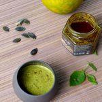 Vinaigrette pépins de courge, orange et basilic pour les salades qui vont arriver