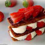 Millefeuille à la mousse de fromage blanc et aux fraises