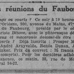 Brève : programme Club du Faubourg (avril 1925)