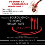 Affiche grand format : Annonce d'un week-end fête du Beaujolais en Restaurant