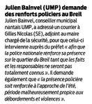 Julien Bainvel demande des renforts policiers au Breil