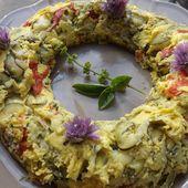 Couronne de courgettes au fromage de chévre et piquillos IG bas -