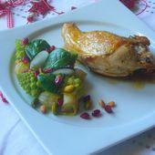 Pintade au four choux romanesco oignons grelot pistaches et pignons torréfiés - Les Secrets de Cuisine de Christine