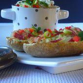 """Pommes de terre farcies à l'abondance et à la poitrine de porc fumée pour """"Autour de la pomme de terre"""" - Les Secrets de Cuisine de Christine"""