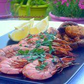 Gambas et champignons à la plancha - Les Secrets de Cuisine de Christine
