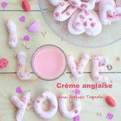 """Crème anglaise aux fraises Tagada et ses meringues aux pralines roses pour le défi """"Cuisine en Rose"""" - Les Secrets de Cuisine de Christine"""