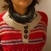 Pull crochet rouge - crea.vlgomez.photographe et bricoleuse touche à tout.over-blog.com