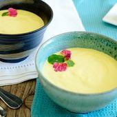 Velouté froid aux courgettes jaunes, citron confit, safran et ricotta