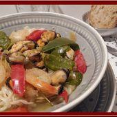 Pâtes Ramen aux crevettes et moules - Oh, la gourmande..