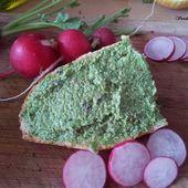 Pesto végétalien de fanes de radis et baies roses. -
