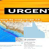 Un séisme de magnituge 7.3 frappe le sud-ouest du Pérou,certains médias évoquent une alerte au tsunami 14/01/2018 - MOINS de BIENS PLUS de LIENS