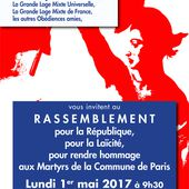 GODF : Rassemblement du 1er mai au Père Lachaise pour la République, la laïcité et rendre hommage aux martyrs de la Commune de Paris (1871) - Bloc notes de Jean-Laurent sur les Spiritualités