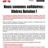 Nord : libérez Antoine! - Front Syndical de Classe