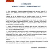A propos des conditions de la manifestation de ce 15 septembre - Front Syndical de Classe