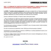 Communiqué / Nice : la mairie a été condamnée à l'annulation de son Directeur de Police Municipale (MAJ du 02/11/2015) - Syndicat de la Police Municipale N°1 : SDPM / National