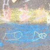 Dessin a la craie de trottoir, sur le thème des vacances d'été - Le blog de fannyassmat, le quotidien d'une assistante maternelle en mille et une anecdotes