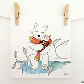 Carte - je t'aime - chat - ola.l.arte