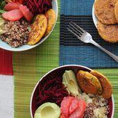 Buddha bowl , et petites crêpes à la farine de pois chiche  sans gluten - Izakitchen