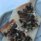 Pizza blanche aux champignons bruns et à l'ail des ours - La cuisine d'Anna et Olivia
