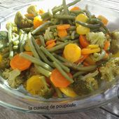 Légumes vapeur (haricots, carottes, petit pois et brocolis) au thermomix - La cuisine de poupoule