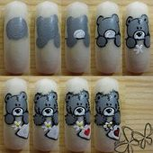 Nail art nounours (teddy B), tutoriel complet - NailartAngel