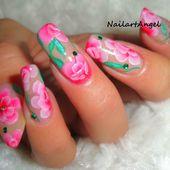 Nail art pas à pas, fleurs roses romantiques, one stroke (tutoriel vidéo) - NailartAngel