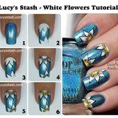 Tutoriel pas à pas, nail art fleurs d'hivers facile à réaliser, niveau débutant - NailartAngel