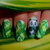 Nail art panda, nail art bambou, tutoriel vidéo, pas à pas. Réalisé à la peinture aquarelle - NailartAngel