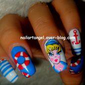 nail art marin, nail art pin up, nail art mer, tutoriel pas à pas - NailartAngel