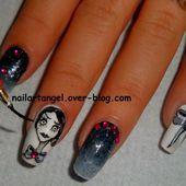 nail art halloween, nail art girly, nail art Tim Burton, nail art noeud, #nailartangel - NailartAngel