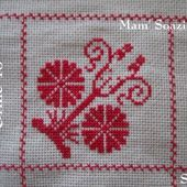 SAL : Plaid Broderie Rouge... Grille 46 / G1 - Chez Mamigoz