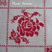 SAL : Plaid Broderie Rouge... Grille 83/H4 - Chez Mamigoz