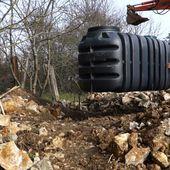087 - Citerne d'eau de pluie et terrassement - Rénovation d'une grange en maison d'habitation (grange de Gabillou)