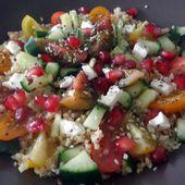 Recette : Salade de quinoa, concombre, feta, grenade - Les Gralettes