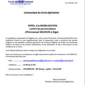 Communiqué du Cercle algérianiste - Appel à la mobilisation - Le blog de voxpop